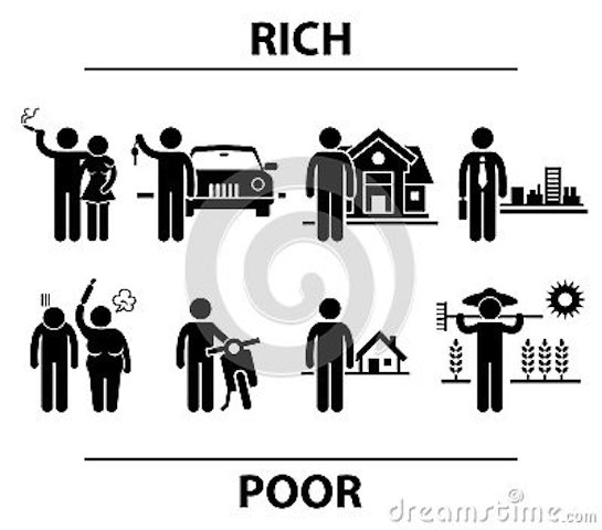 set-people-stick-figure-pictograms-representing-differences-rich-poor-people-term-spouse-transportation-30093669